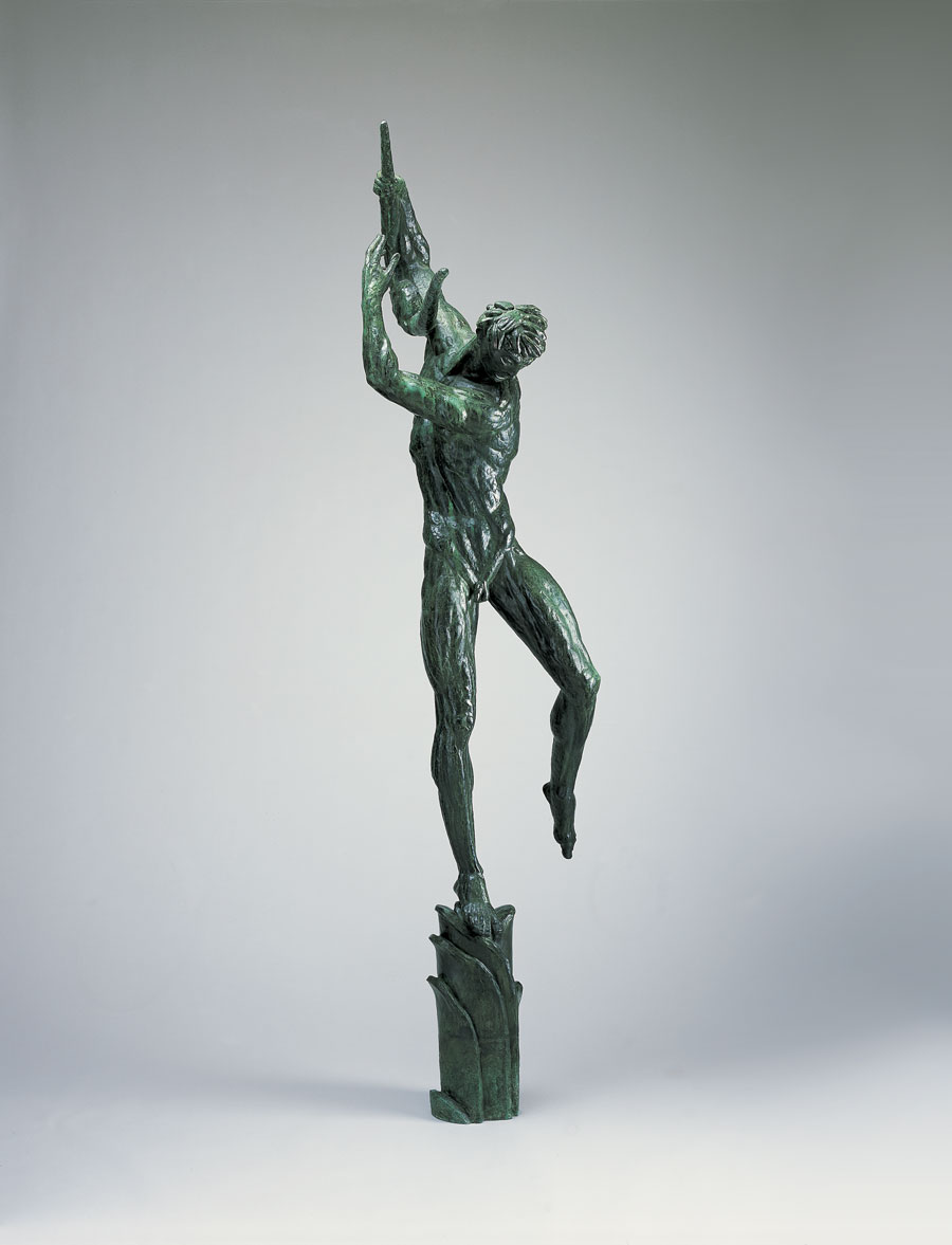 Carl Milles' sketch for Orpheus. Bronze sculpture of a person standing on one foot in forward motion holding a lyre.