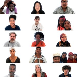 vertical image of twenty people looking at camera against white background