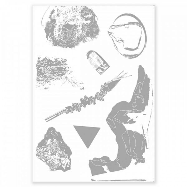 black and white print of assorted images
