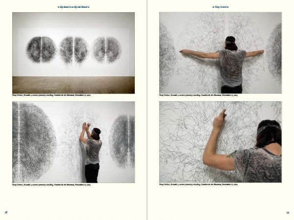 collage of person drawwing with graphite on white wall