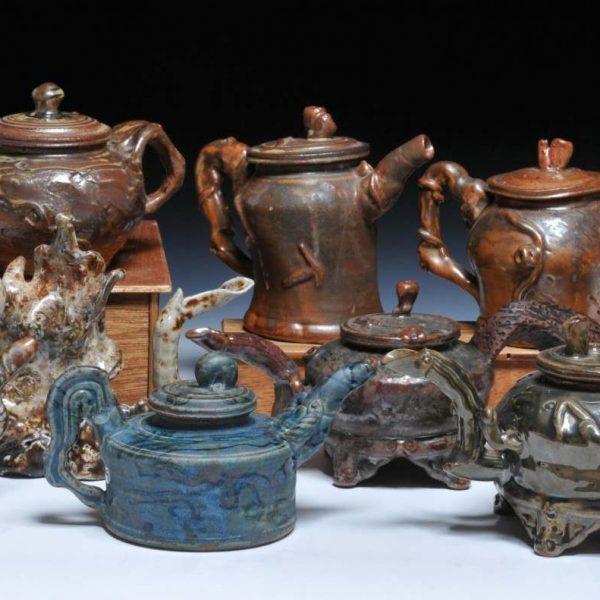 teapot ceramics in various colors