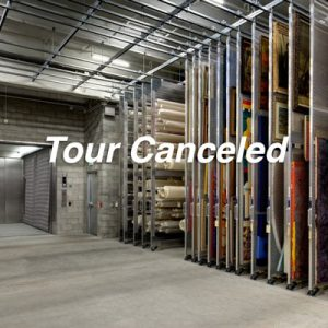 Tour Canceled, assorted artwork hangs on wire storage grids