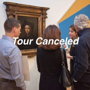 Tour canceled, group of individuals look at a renaissance painting