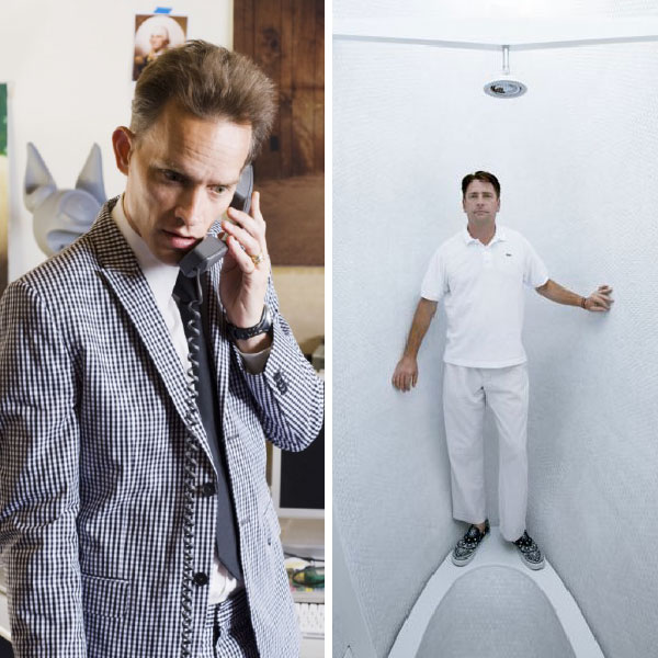 collage of man holding phone and man standing against white wall