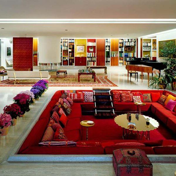 Miller House living room, Alexander Girard, interior design
