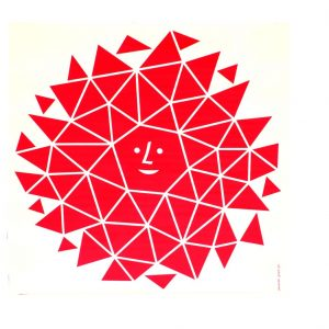 Red geometric sun with smiley face