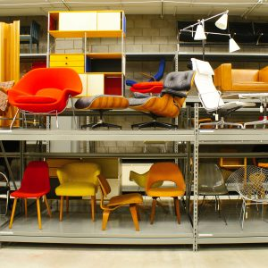 CAM warehouse, chairs on shelves, Collections Wing