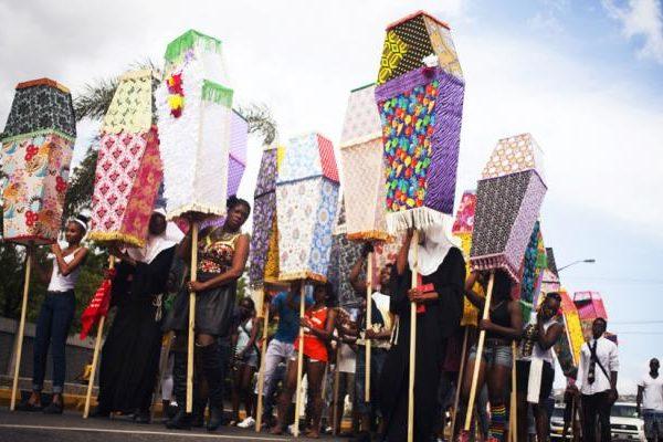 Clare Tancons coffins on sticks