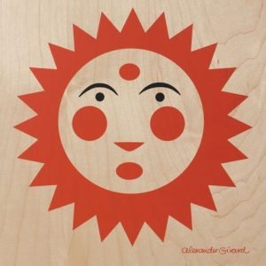 orange sun on wood board, Alexander Girard