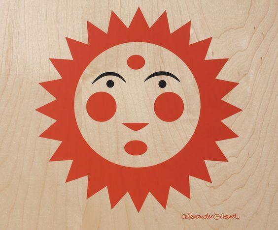 orange sun on wood board, Alexander Girard