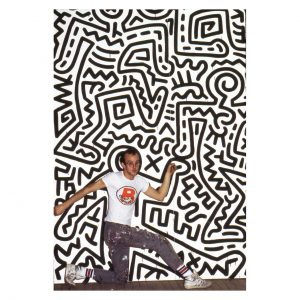 Keith Haring profile - posing inside his drawing
