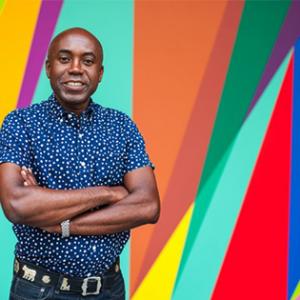 Odili Donald Odita profile with colored geometric background