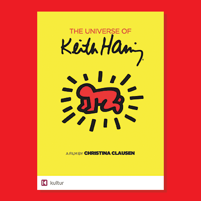 Keith Haring film poster with red background