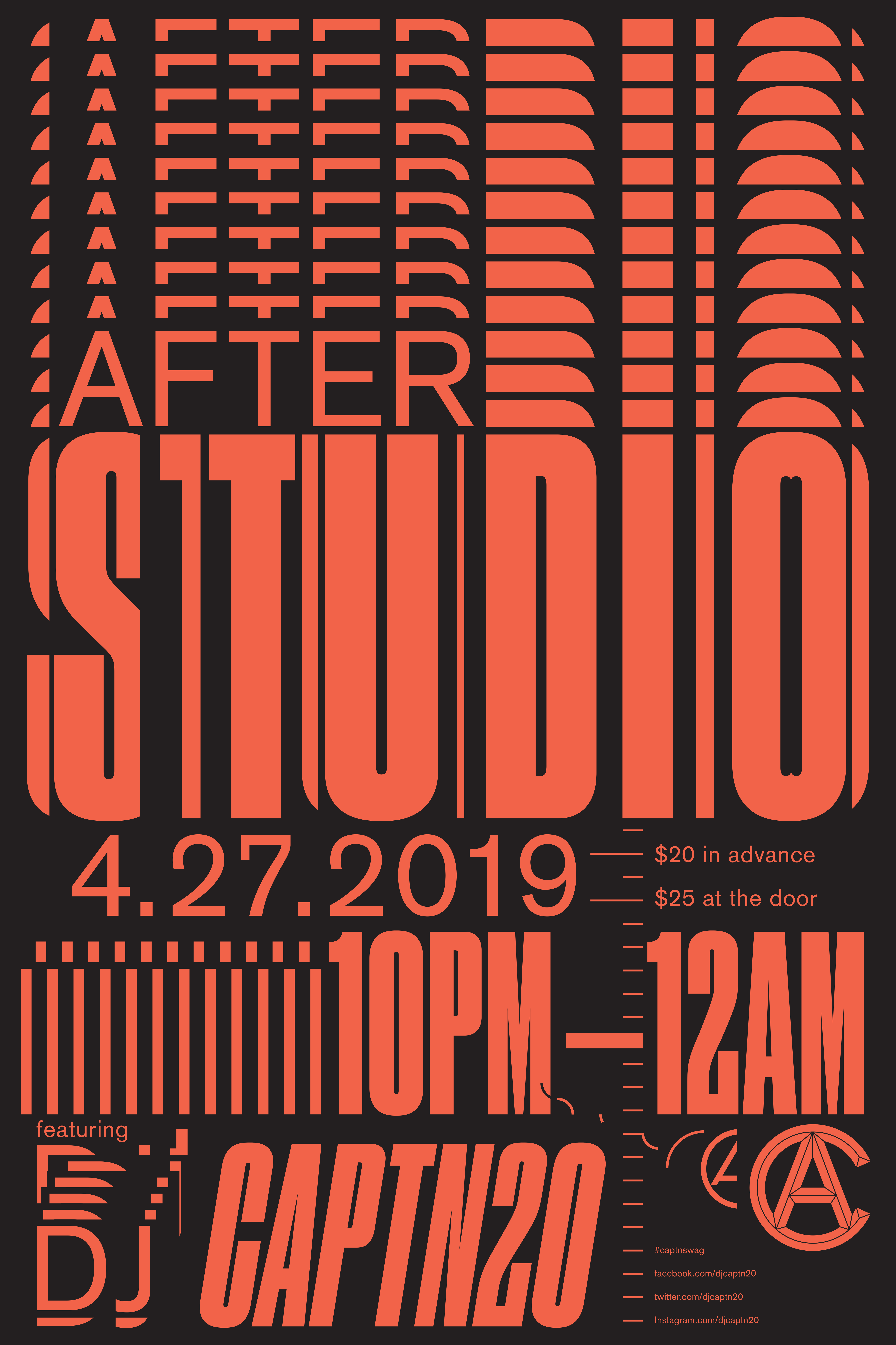 After Studio 2019 poster, red and black