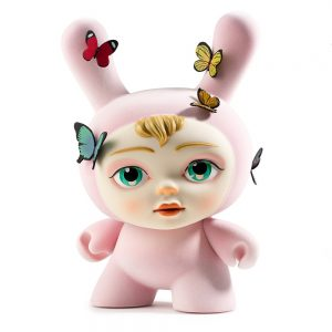 Rabbit with human face and butterflies vinyl figure