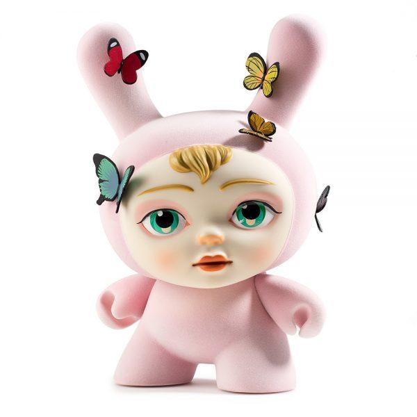 Rabbit with human face and butterflies vinyl figure