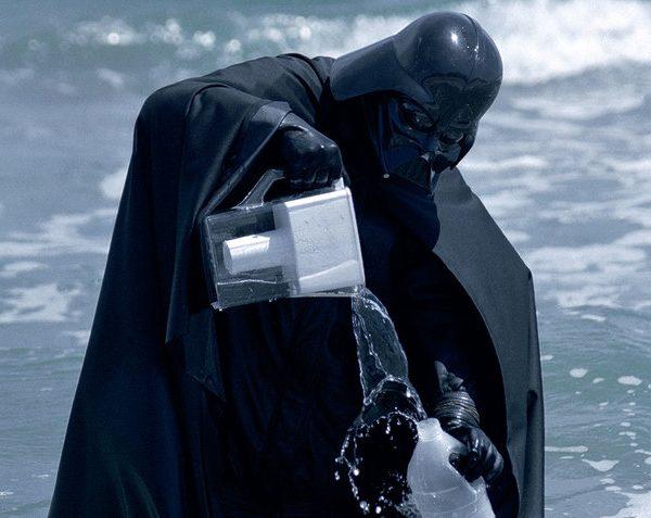 Darth Vader pouring Brita into ocean