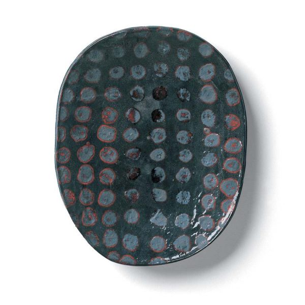 Blue ceramic bole with spots