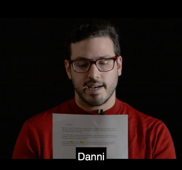 Daniel Greenberg reading on camera