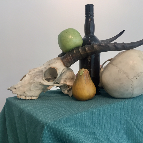 Happy Hour, Still Life with skulls and fruit