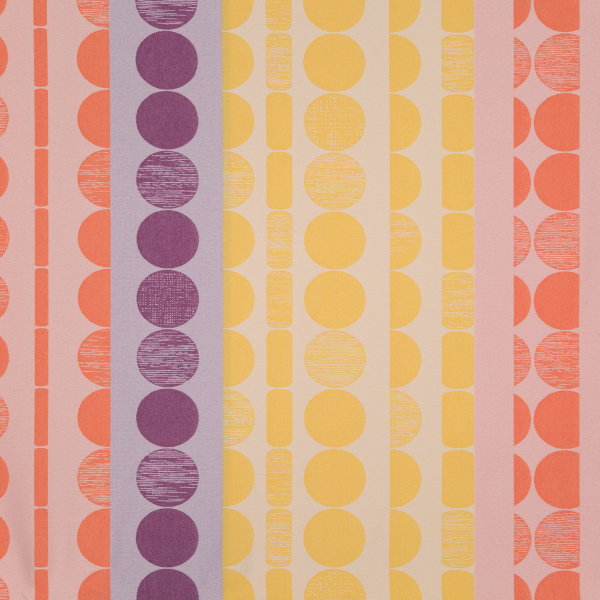 Fabric Print with patterns in orange, purple, and yellow