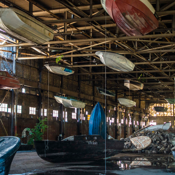 Landlord Colors, Scott Hocking, suspended boats in warehouse