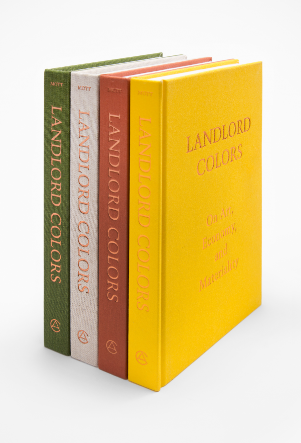 Landlord Colors, collection of novels in green, white, red, and yellow