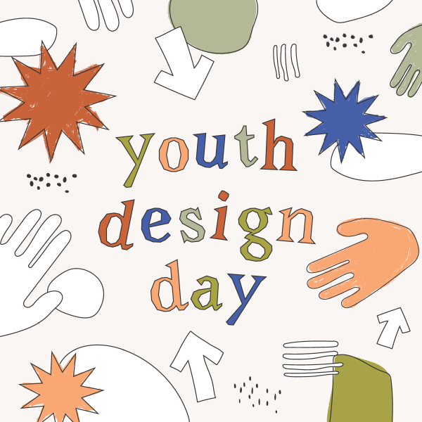 Youth Design Day graphic with hands and arrows