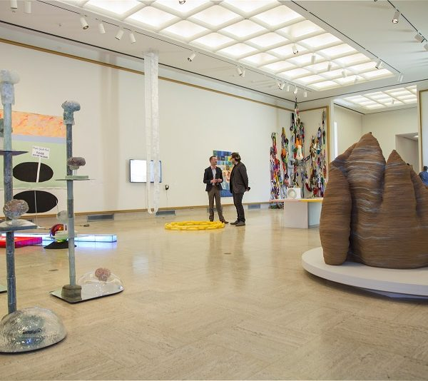 Wide Angle View of Graduate Degree Exhibition with Sculptures