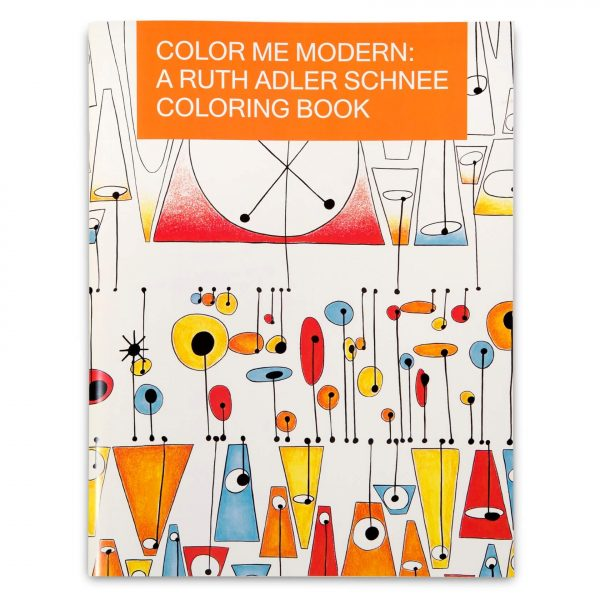 Coloring book cover featuring graphic design by Ruth Adler Schnee