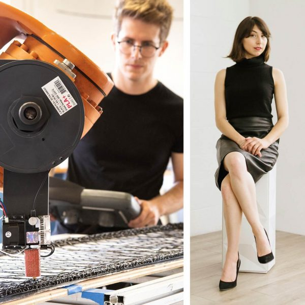 Photo of artist Cody Norman standing with machine and isabelle weiss