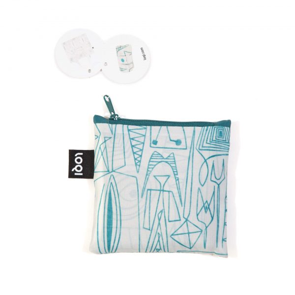 White tote bag with aqua colored design by Ruth Adler Schnee