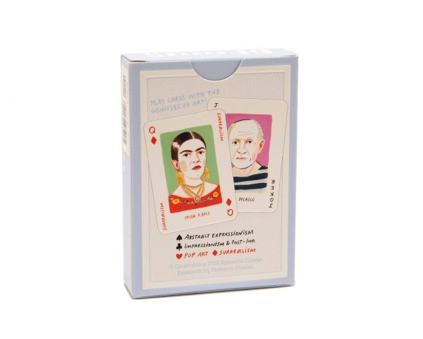 """Pack of Cards """"Art Genius"""" with sample illustrated cards on rear of pack"""