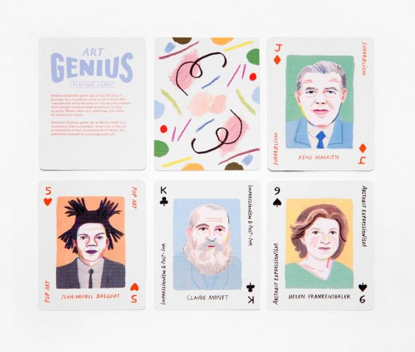 Group of illustrated playing cards with portraits of famous artists
