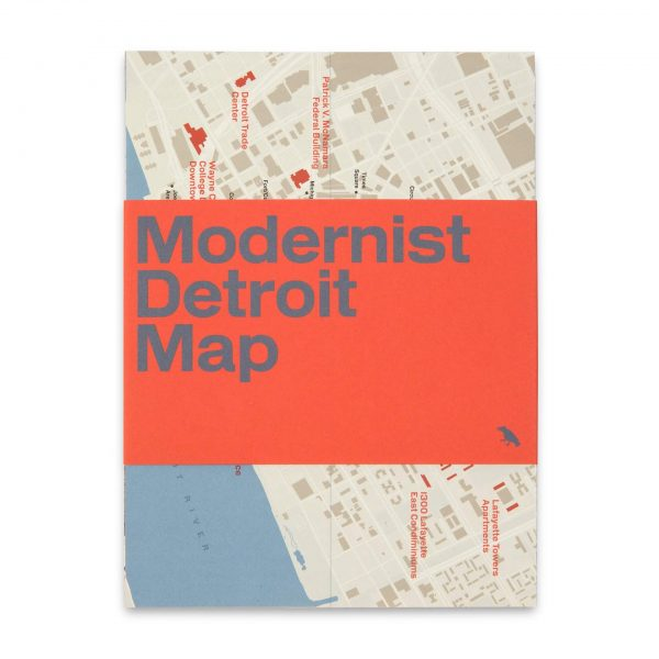 Modernist Detroit Map, front of two sided architecture map