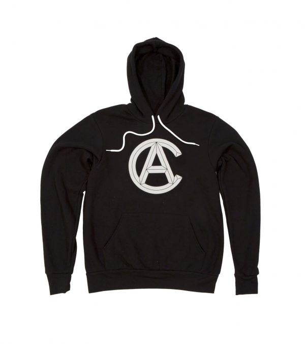 Front of Black Hooded Sweatshirt with Cranbrook Academy of Art logo in White