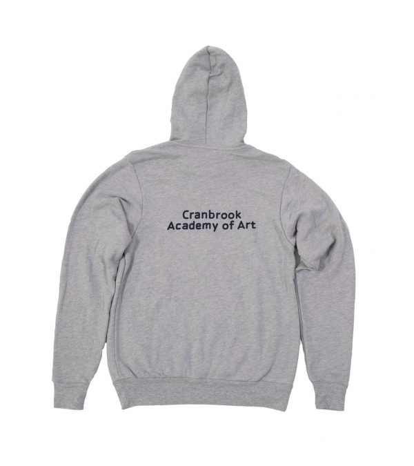 Back of Grey Hooded Sweatshirt with Cranbrook Academy of Art text in Navy