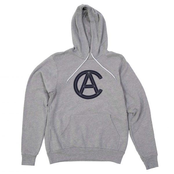 Grey Hooded Sweatshirt with Cranbrook Academy of Art logo in Navy