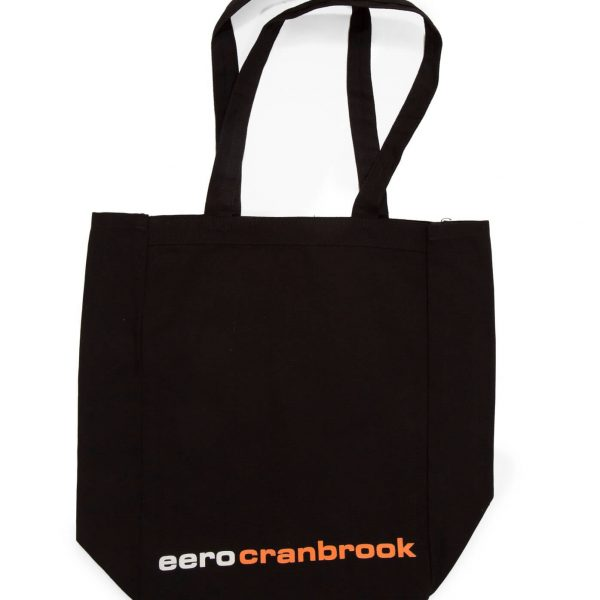 "Black Tote Bag with White text ""Eero"" and Orange Text ""Cranbrook"" at the bottom"