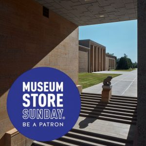 Museum Store Sunday text logo over exterior view of Cranbrook Art Museum