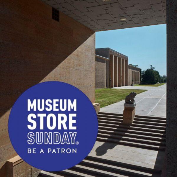 Museum Store Sunday text logo over exterior view of Cranbrook Art Museum