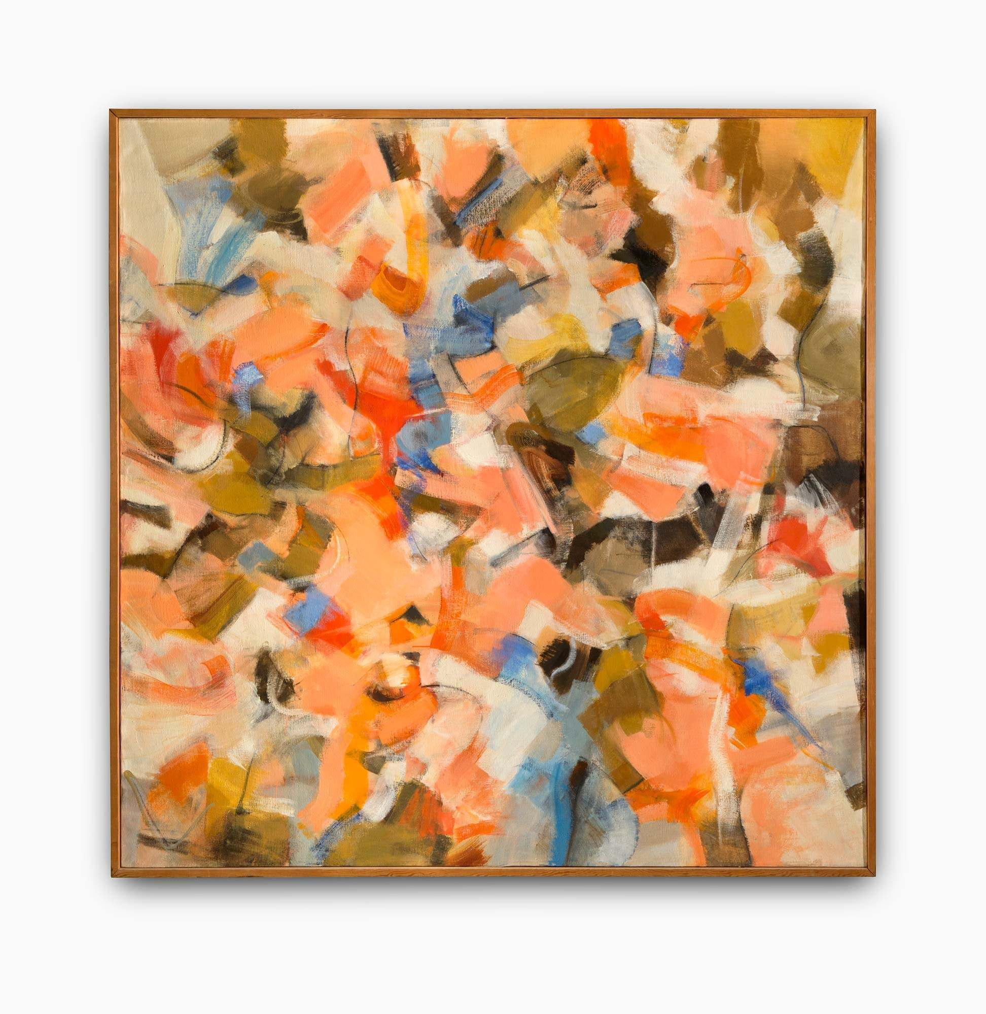 Frank Okada's Untitles. Large abstract painting in wood frame.